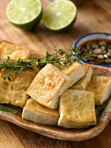 Pan Fried Tofu with Soy Sauce.