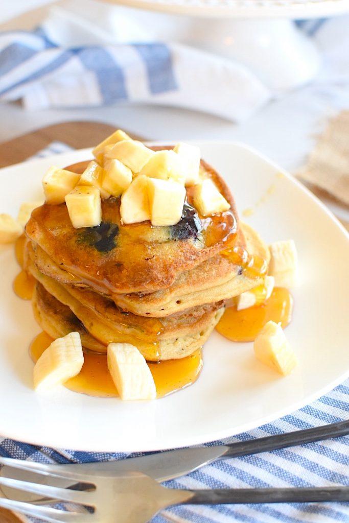 Vegan and Gluten Free Banana, Blueberry Pancakes