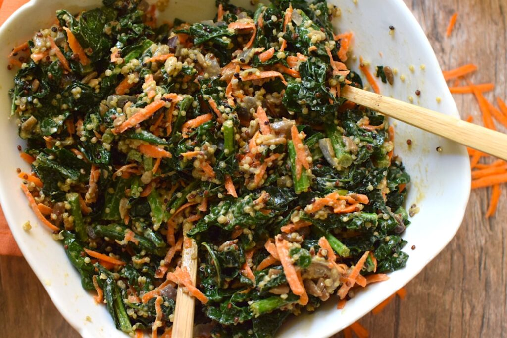"Vegan Kale and Quinoa ""Caesar"" Salad"
