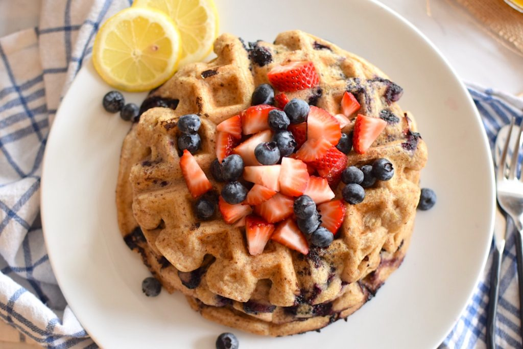 vegan and gluten free lemon blueberry waffles