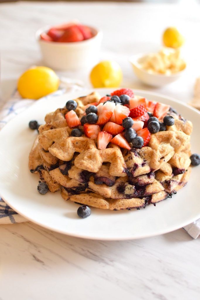 gluten free lemon blueberry waffles